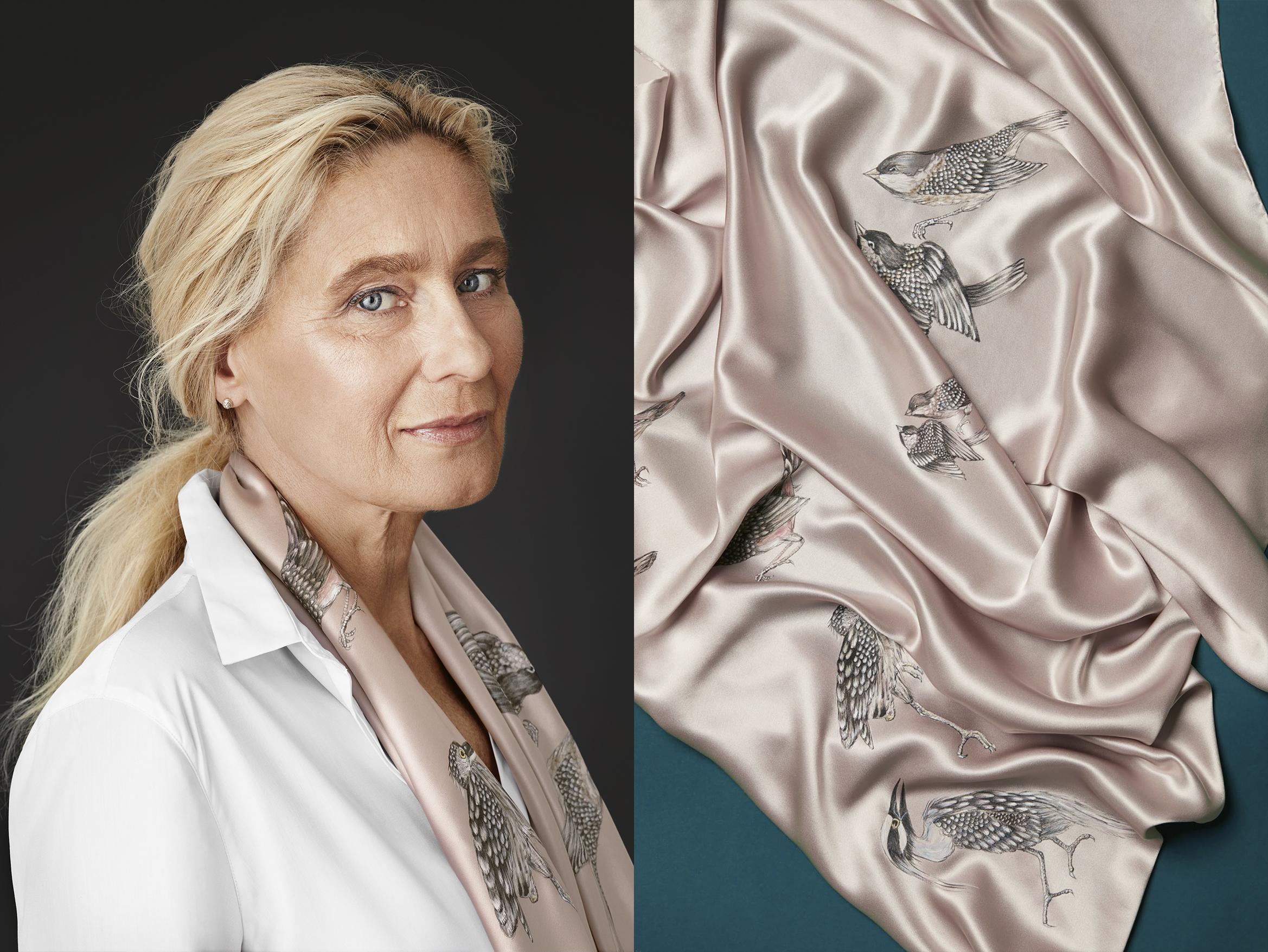 ręcznie malowana chusta w ptaki