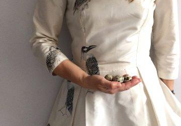 jedwabna suknia ręcznie malowana